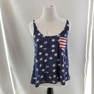 OTHERS FOLLOW Patriotic Red White Blue Tank Sz S